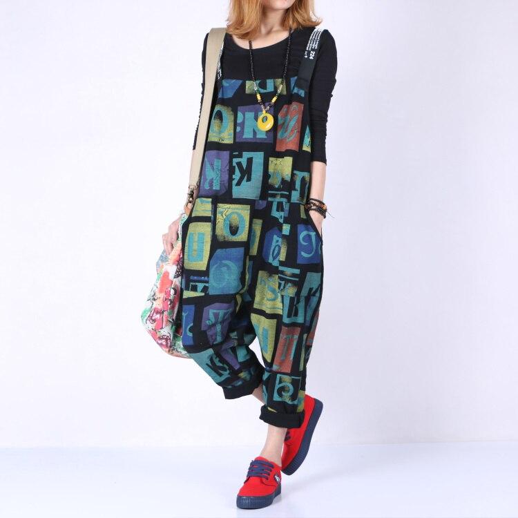 Bib Gaine New Pantalon Black De 100 Lâche Nouveau Plus Femelle Courroie Coton Casual Size Harem 2016 Tricoté Imprimer Hwq08EZx