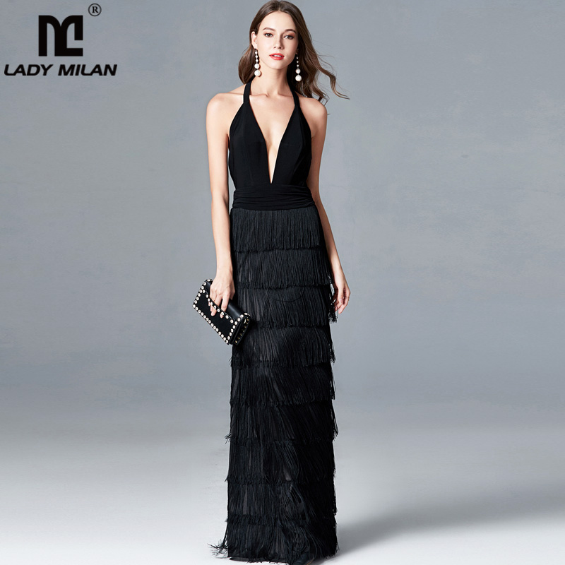 Lady Milan Womens Sexy Deep V Neck Sleeveless Ruched Waist Tiered Tassels Fashion Long Party Dresses Elegant Runway Prom Dress