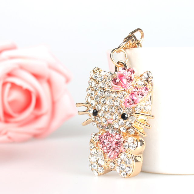 Pink Sweat Heart Butterfly Cat Cute Crystal Charm Purse Handbag Car Key Keyring