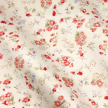 Shabby Chic Beige With Red Flowers Printed Cotton Fabric Twill 100 Floral Bedding