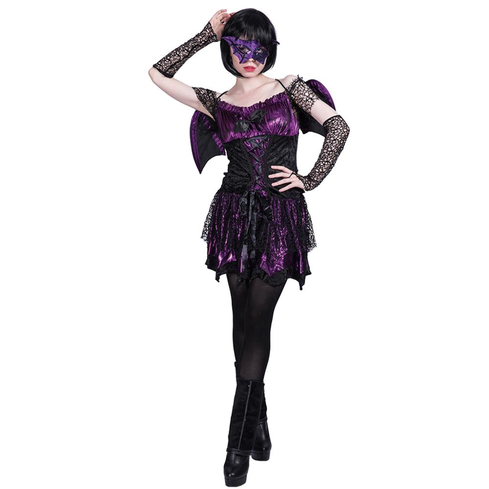 Women Sexy Bad Bat Girl Dark Angel Villain Costume Dress Cosplay Party Fancy Dress Wing for Female Adult Halloween Costumes