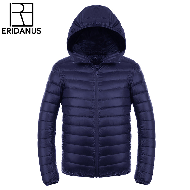 남성 다운 자켓 2016 신품 남성용 초박형 경량 코트 솔리드 후드 방수 화이트 오리 파커 겉옷 M416