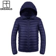 Men's Down Jacket 2016 New Men Short Ultra-thin Lightweight Coats Solid Hooded Waterproof White Duck Down Parkas Outerwear M416