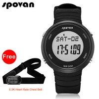 S POVANสมาร์ทกีฬานาฬิกาสำหรับผู้หญิงนาฬิกาผู้ชายดิจิตอลLEDนาฬิกาH Eart Rate Monitor/กันน้ำ(ฟรีเข็มขัดอัตรา...