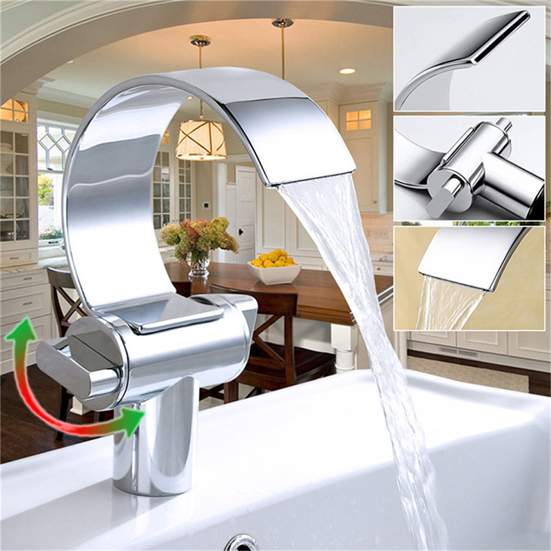 Newest design Dual Handle One Hole Basin Mixer Tap Waterfall Spout Deck Mounted Bathroom Sink Faucet Brushed Nickle new arrive dual square handles waterfall spout bathroom sink basin faucet brushed nickel deck mount