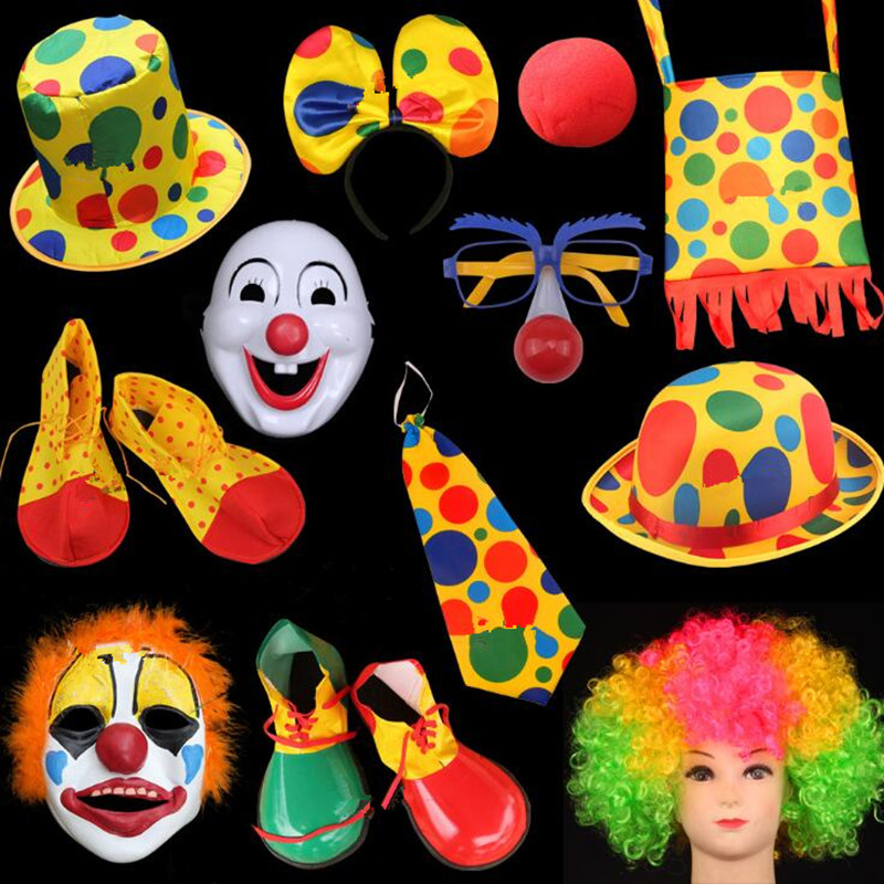 Clown Mask Nose Hat Tie Headband Headwear Shoes Circus Clown Cosplay Props Kids Adults  Up Decoration Party    Christmas Navidad