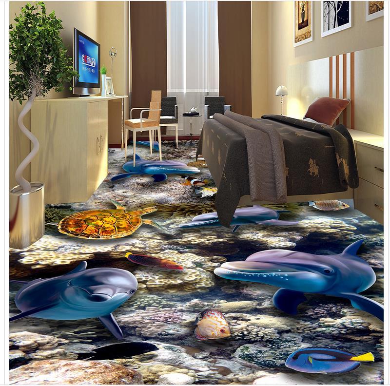 Ocean 3D wall murals wallpaper floor Custom Photo self-adhesive 3D floor PVC waterproof floor dolphin ocean