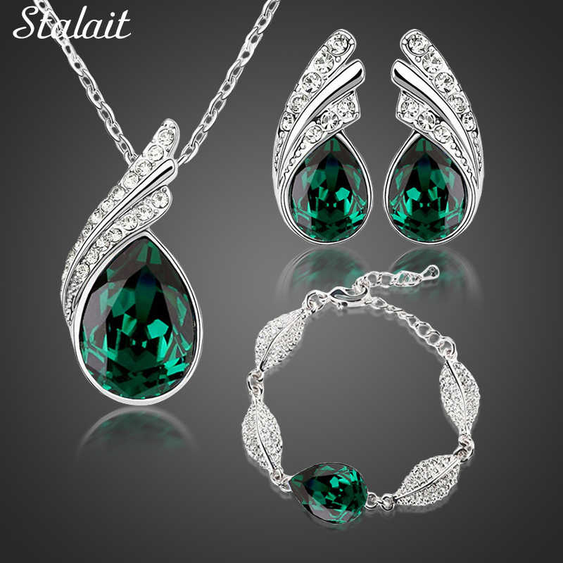 Partai Besar Bridal Perhiasan Set Austrian Crystal Fashion Daun Air Mata Bulu Air Drop Liontin Kalung Anting-Anting Set Perhiasan