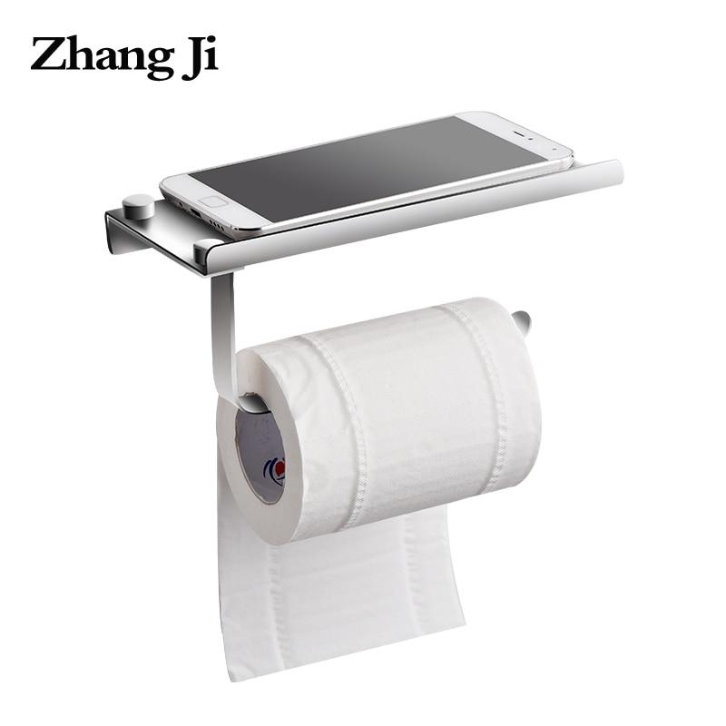 ZhangJi Montaggio A Parete In Metallo Carta Igienica Supporto di carta con il Telefono Mensola del Bagno In Acciaio Inox Rotolo di Supporto di Carta Del Telefono Mobile Rack di