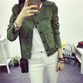 2017 New High Street Ladies Soft Suede Jacket Women Vintage Faux Leather casual short Army Green Pink Outwear Tops Slim Wear