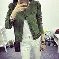 2017 nueva high street ladies soft suede jacket women vintage imitación de Cuero corta ocasional Verde Del Ejército Rosa Outwear Tops Delgado desgaste