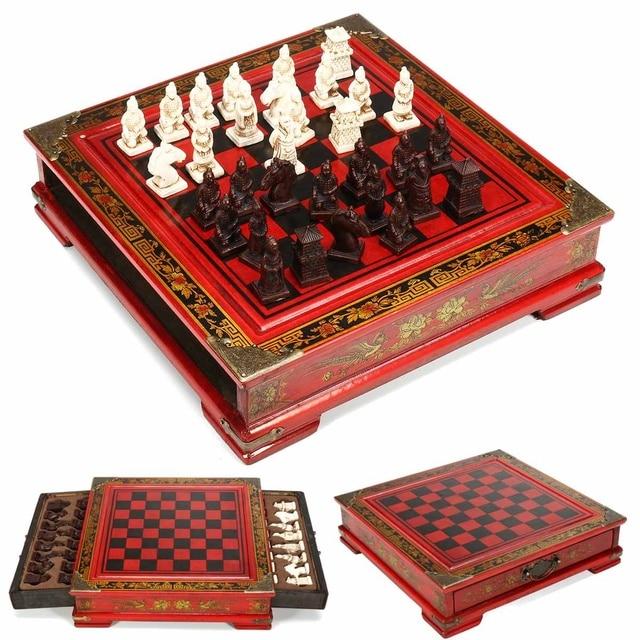 Haute qualité 32 pièces/ensemble résine échecs chinois avec Table en bois café Vintage à collectionner cadeau divertissement jeu de société 1