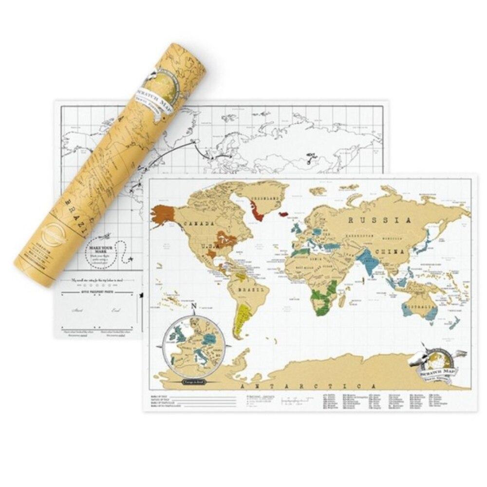 Carte effaçable à gratter carte du monde grand personnalisé Travelogu décoration Stickers muraux Journal touristique papeterie fournitures cadeaux