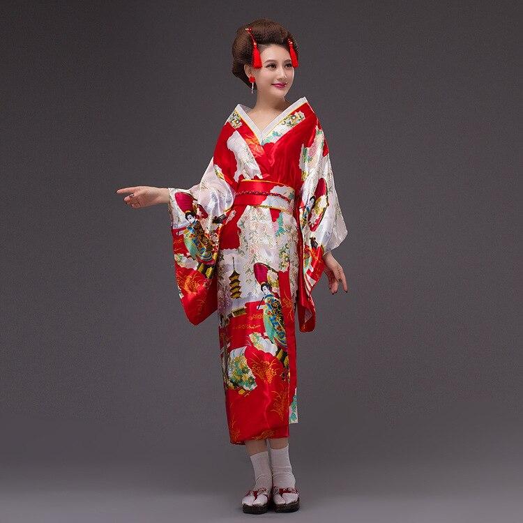 Fashion National Trends Women Sexy Kimono Yukata with Obi Novelty Evening Dress Japanese Cosplay Costume Haori Floral One Size