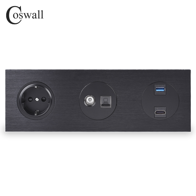 Coswall All Aluminum Wall Panel EU Power Socket + Female TV Jack With CAT5E RJ45 Internet Outlet + HDMI 2.0 USB 3.0 Port