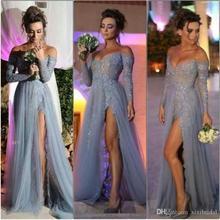 Neue Mode 2017 Lange Ärmel Spitze Prom Abendkleider Mermaid Off Shoulder High Slit Spitze Lange Formale Party Kleider EP54