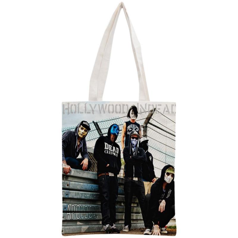 Custom Hollywood Undead Tote Bag Reusable Handbag Women Shoulder Foldable Canvas Shopping Bags Customize Your Image