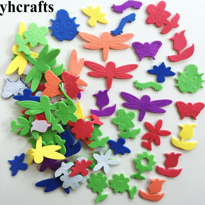 1 пакетов/лот, снежинка, рождественские наклейки из пены для раннего обучения, Обучающие поделки, diy игрушки, детская комната, орнамент, цветная обучающая креативная OEM - Цвет: 40PCS insect flower