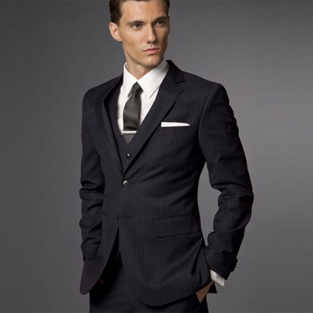 Groom Suit Wedding Suits For Men 2017 Mens Striped Tuxedo Tailored 3 Piece Black Tuxedos