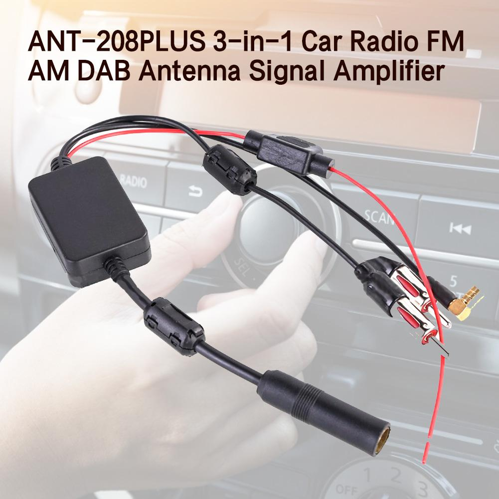 For Universal 12V Auto ANT-208PLUS 3-in-1 Car Radio FM AM DAB Antenna Signal Amp Amplifier