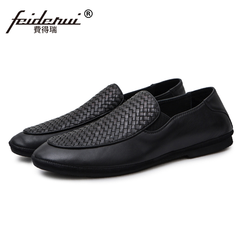 New Arrival Handmade Round Toe Man Breathable Shoes Genuine Leather Slip on Loafers Casual Men's Moccasin Comfortable Flats JS92 chilenxas 2017 new spring autumn soft leather breathable comfortable shoes flats men casual fashion solid slip on handmade