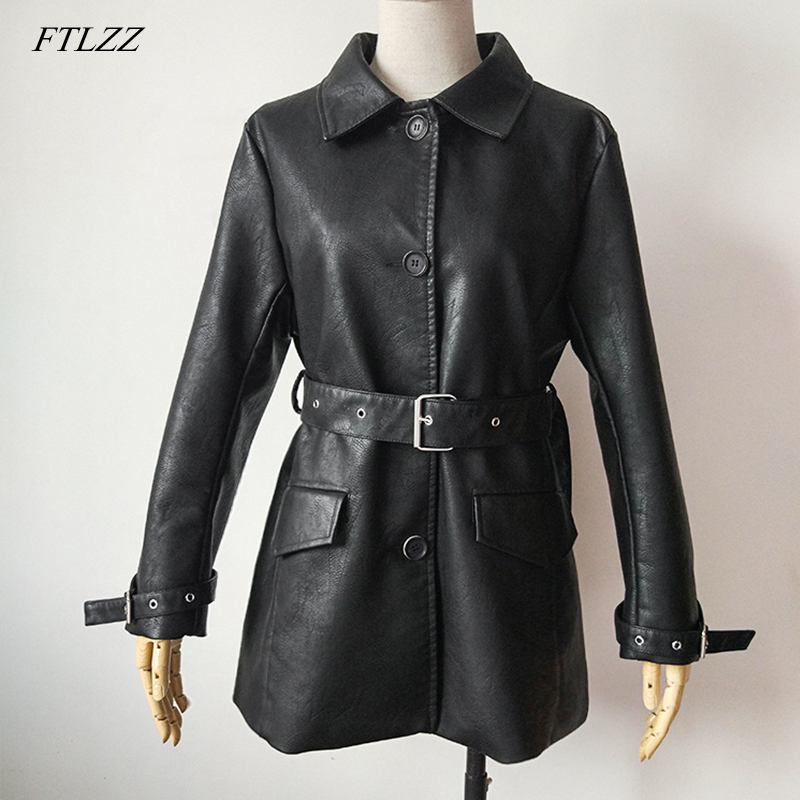 FTLZZ 2019 New Women Black Faux   Leather   Long Jackets Autumn Winter Single Breasted Basic Coat With Blet Biker Jacket