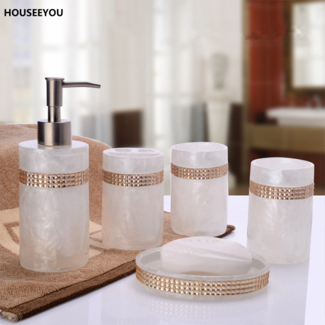 European Beautiful Inlaid Stones 5pcs Resin Bathroom Accessories Set Gift Soap Dispenser Toothbrush Holder