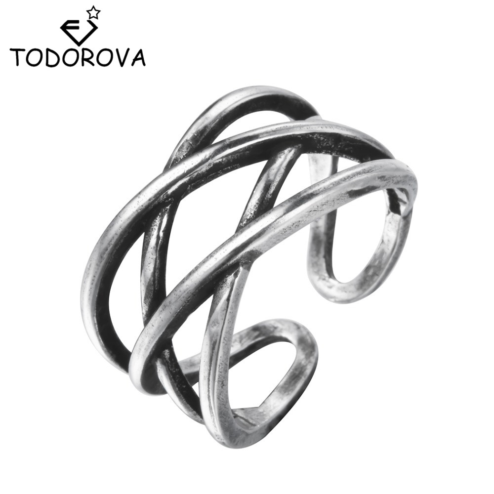 Todorova Vintage Punk Double Hollow X Cross Midi Finger Tip Rings Knuckle Rings Adjustable Finger Jewelry for Women Men