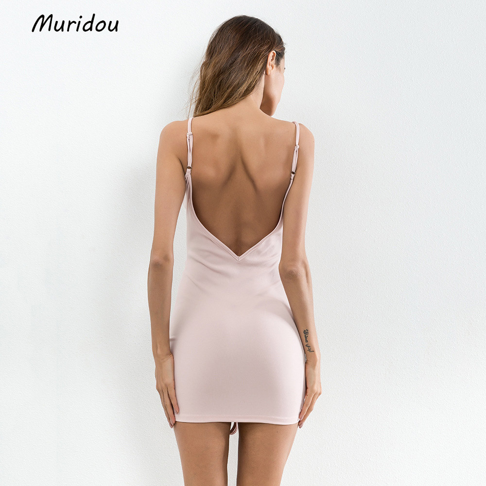 Muridou 2018 Sexy sleeveless V neck dress Party Dresses Summer Dress  Spaghetto Strap Vesitdos Backless  Women mini Dress 2017  3