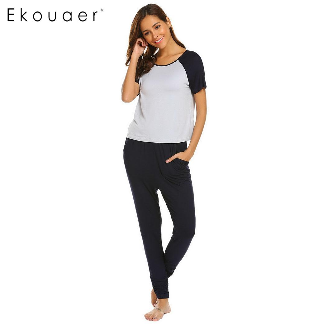 Ekouaer Short Casual Patchwork Women Sleeve Top Long Pants   Pajama     Set