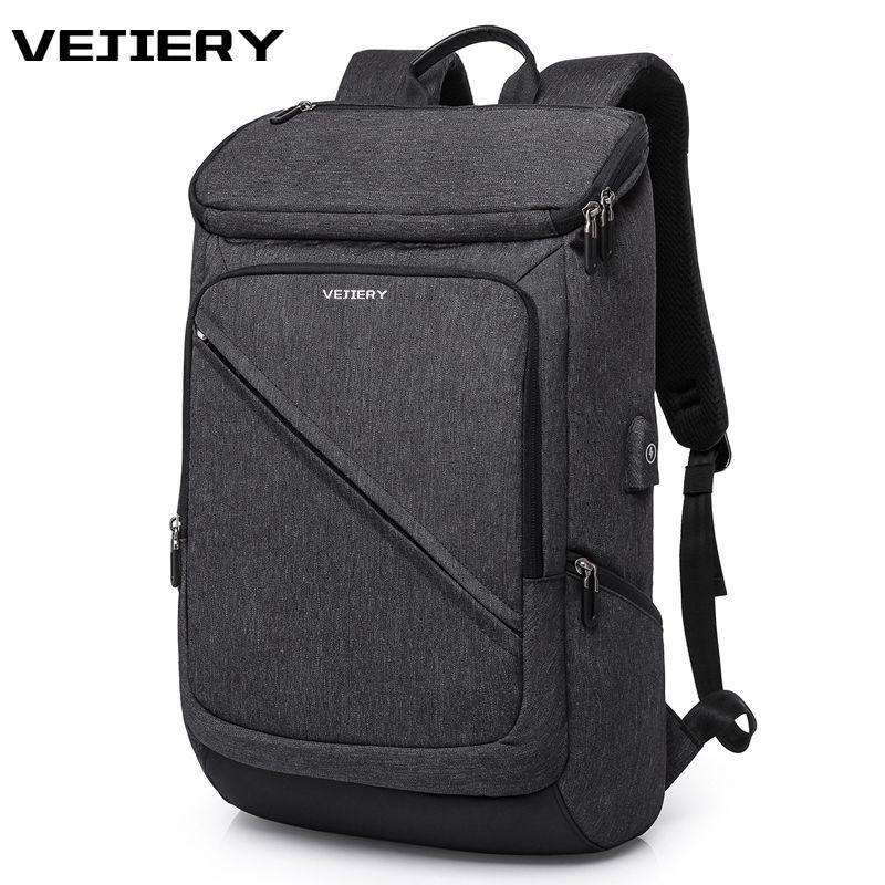 VEJIERY multifonction USB charge hommes sac à dos pour 17 pouces sac à dos pour ordinateur portable grande capacité sac à dos de Style décontracté sac
