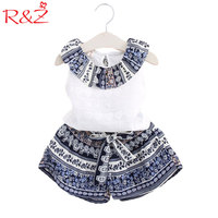 R Z 2017 Girls Clothes Sets Summer Turn Down Collar Sleeveless T Shirt Shorts Famous Chinese