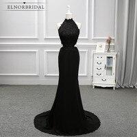 Modest Backless Black Prom Dresses Mermaid 2017 Halter Robe De Soiree Formal Party Dress Celebrity Evening