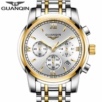 GUANQIN Luxury Brand Quartz Watches Men Business Clock Hours Chronograph Luminous Male Fashion Wrist Watch Relogio