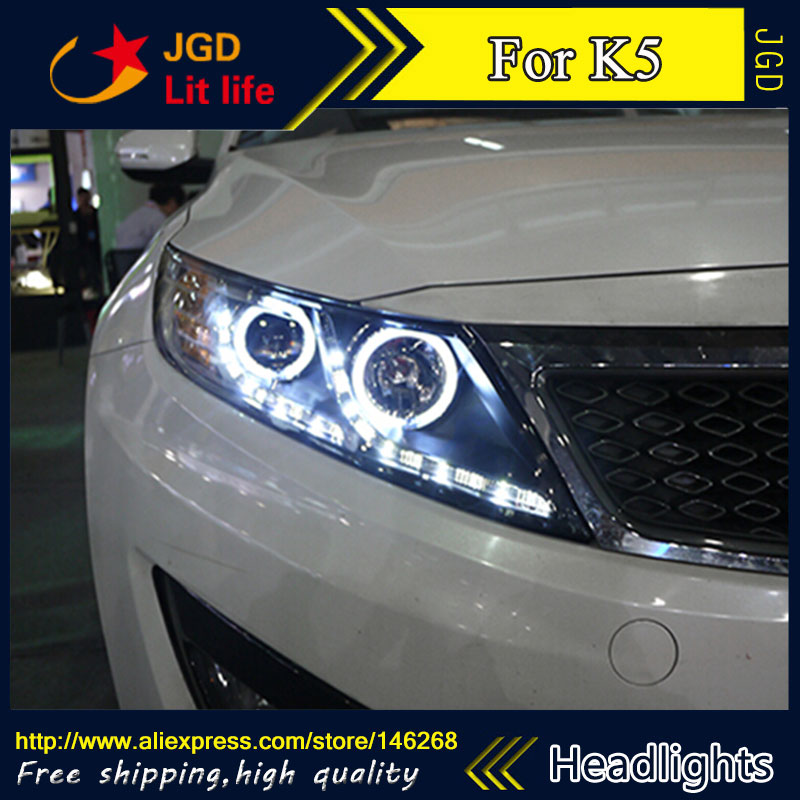 Free shipping ! Car styling LED HID Rio LED headlights Head Lamp case for KIA K5 2011 2012 2013 Bi-Xenon Lens low beam free shipping k5 metal shell