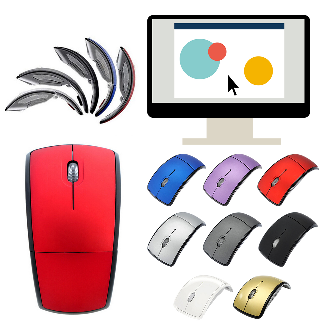 Colorful 2.4Ghz Wireless Mouse Computer Mouses Foldable Folding Optical Mice USB Receiver For Laptop PC Computer Desktop Office