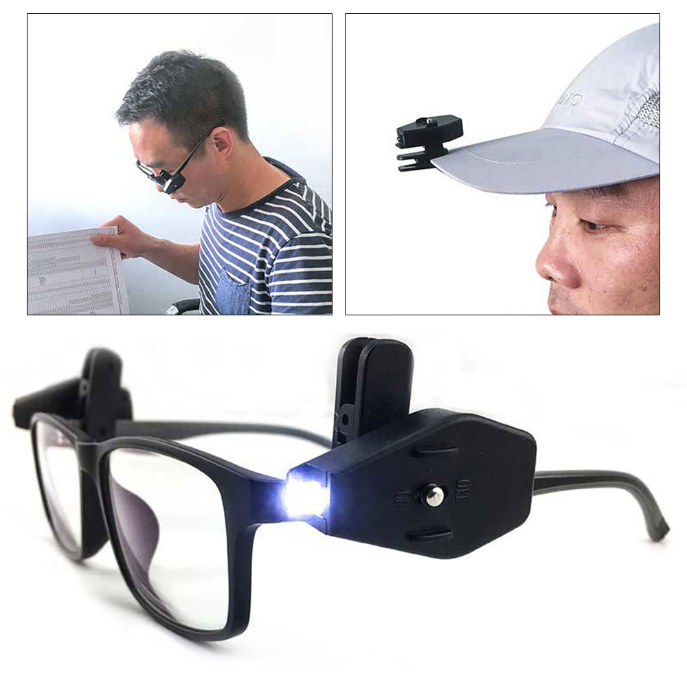 1Pc Mini Flashlight Glasses Reading Lamp Eyeglass Clip Adjustable Eyeglasses Lamp Flexible Book Reading Night Lights