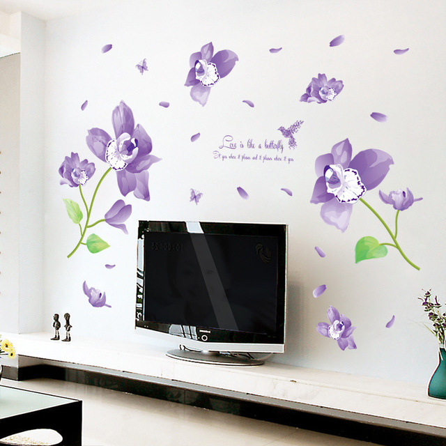 Blue Butterfly Flower Wall Stickers Decals Adhesive Beautiful Plants  Pegatinas Wallpapers DIY Removal Vinyl Stickers Part 93