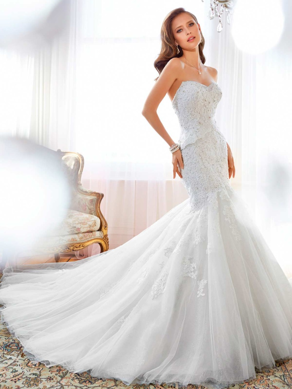 Designer Wedding Dress Sweetheart Neck Lace Appliqued Mermaid ...
