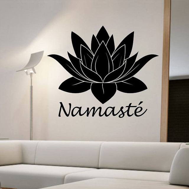 Namaste Yoga Buddha Wall Sticker Lotus Flower Wall Decal Home Decor Living  Room Bedroom Decoration Art