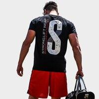 2018 Yeni Yaz Erkek Spor Salonları Rahat T gömlek Spor Vücut Geliştirme baskı Sıkı Moda Erkek Kısa Pamuk giyim Tişört Tops 5 renk