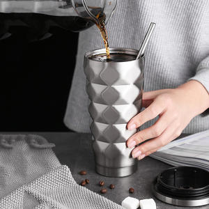 Image 3 - ステンレス鋼絶縁カップ真空フラスコ魔法瓶 500 ミリリットル絶縁魔法瓶コーヒーマグ旅行わら