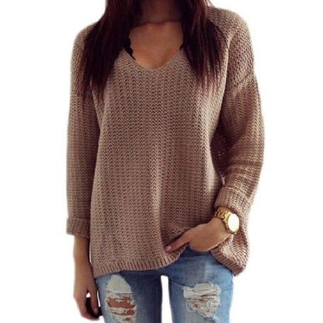 Imc 1pc Womens Long Sleeve Crew Neck Cotton V Neck Autumn Sweater