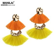 MANILAI Bohemian Layered Alloy Tassels Örhängen för Women Statement Smycken Multicolor Bomull Fringed Dangle Örhängen Brincos