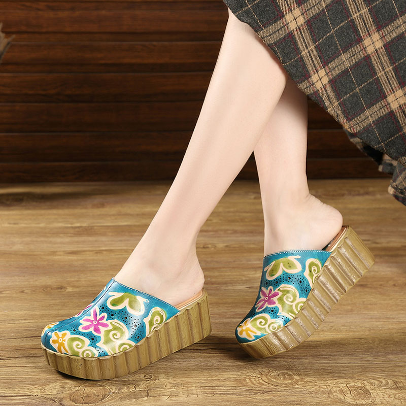 2019 Summer Cover Toes Shoes Women Slippers Handmade Vintage Genuine Leather Closed Toes Flower Women Platform