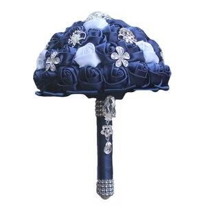 Image 2 - WifeLai A Diamond Navy Blue Bridal Brooch Wedding Bouquets De Noiva de mariage Holding Satin Bouquets On Sale W293