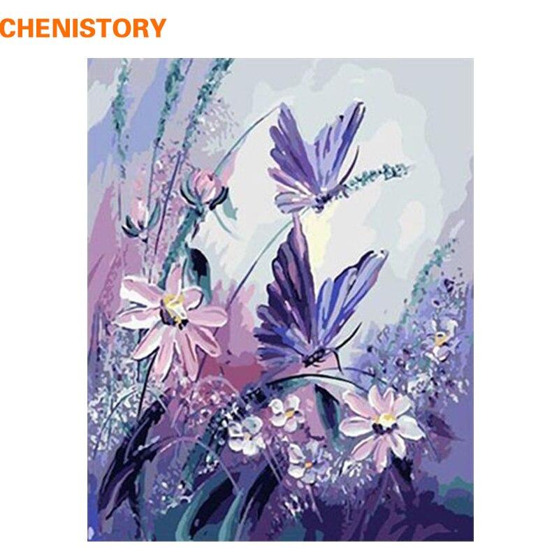 CHENISTORY Minion Farfalla Pittura di DIY Dai Numeri Dipinto A Mano Immagine Pittura A Olio Astratta Su Tela di Canapa Per Soggiorno 40x50 cm