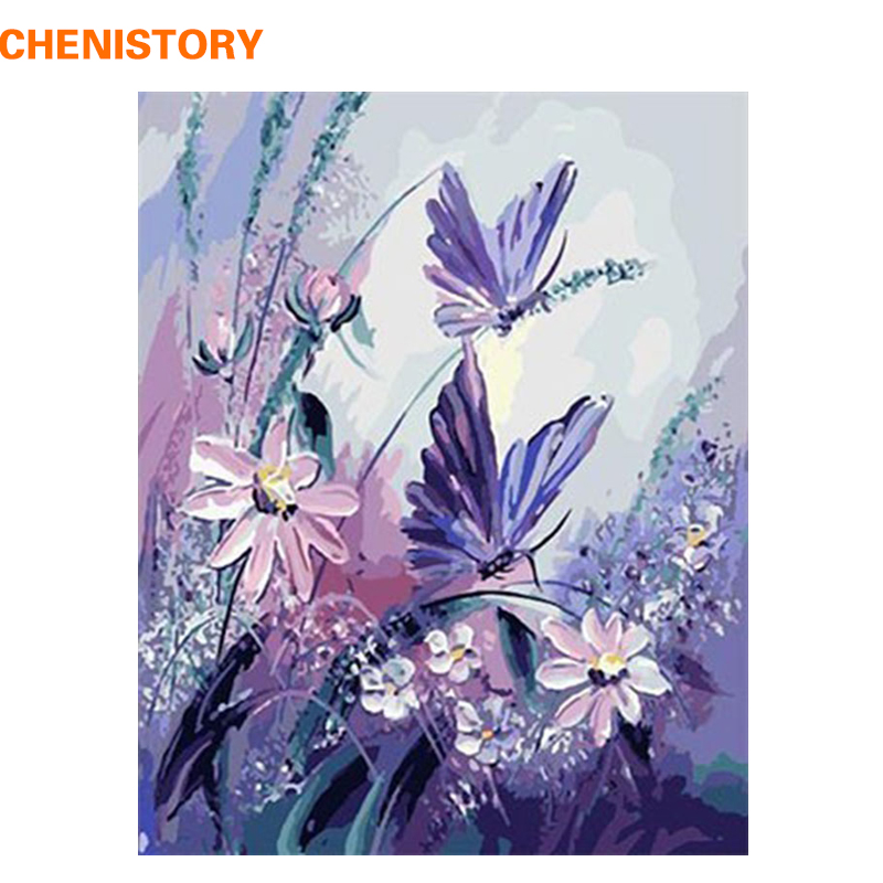 CHENISTORY Minion Papillon DIY Peinture Par Numéros Peints À La Main Image Peinture À L'huile Abstraite Sur Toile Pour Salon 40x50 cm
