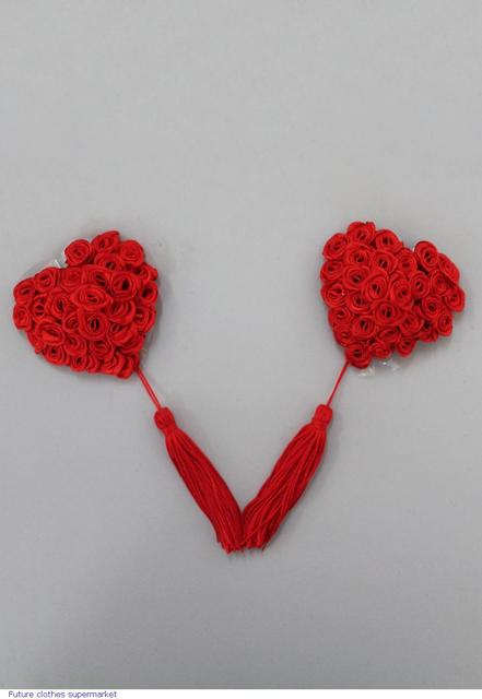 Women Sexy Accessories chest Red Rose Heart Shape With Tassels Pasties nipple cover LC0553 Sexy Toy invisible bra