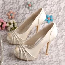 Wedopus Peep Toe Ivory Bride Platform Crystal Wedding Shoes Pumps White Dropshipping